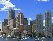 Part of current downtown Boston by its harbor.
