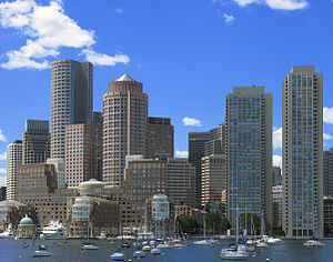 Harbor Towers - The Harbor Towers (far right) are very prominent in the Boston skyline when viewed from Boston Harbor