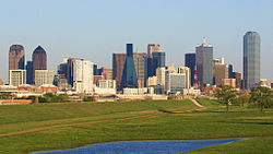 Downtown Dallas from the Trinity River Greenbelt Park