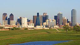 Dallas sedd från Trinity river, mars 2009.