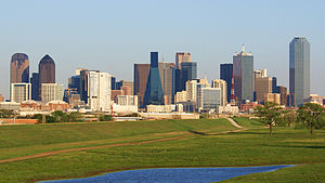Downtown Dallas in the background with the Tri...