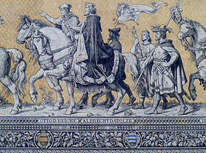 Otto II, Margrave of Meissen - Otto and his son Albert, depicted in the Dresden Fürstenzug