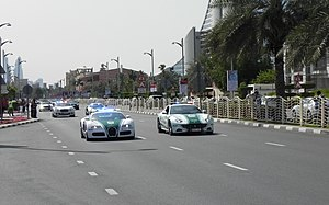 Dubai Police Force - Exotic Dubai Police cars on patrol.