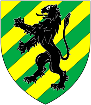 Baron Ashburton - Arms of Dunning, Baron Ashburton: Bendy sinister of eight or and vert, overall a lion rampant sable