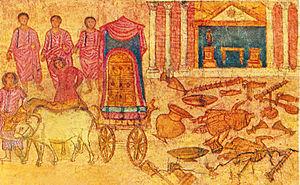 Philistine captivity of the Ark - Fresco of the Philistine captivity of the ark, in the Dura-Europos synagogue.