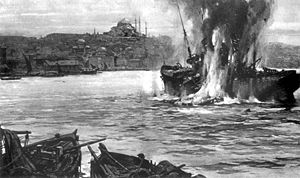 """HMS E11 - E11 torpedoes the """"Stamboul"""" off Constantinople, 25 May 1915"""