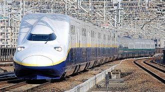 E4 Series Shinkansen - Set P5 in original yellow-stripe livery in March 2011