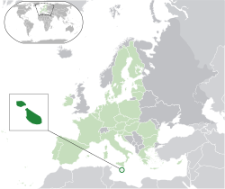 Location of  Malta  (dark green)– in Europe  (green & dark grey)– in the European Union  (green)  —  [Legend]