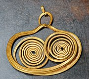 Gold earring from Mycenae, 16th century BCE.