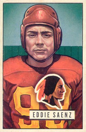 Eddie Saenz - Saenz on a 1951 Bowman football card
