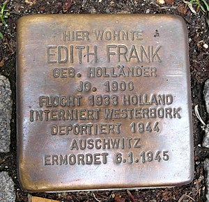 Edith Frank - A Stolperstein for Frank at the Pastorplatz in Aachen, Germany