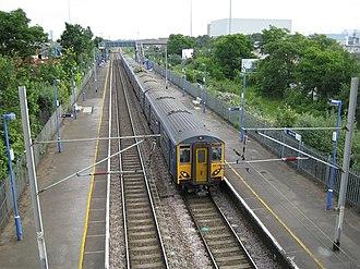 Angel Road railway station - Class 317 train on platform 1