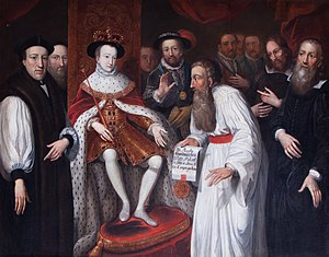 Jan Łaski - Edward VI Granting Permission to John a Lasco to Set Up a Congregation for European Protestants in London in 1550, painting by Johann Valentin Haidt