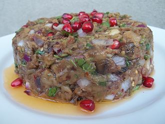 Georgian cuisine - Image: Eggplant caviar with pomegranate