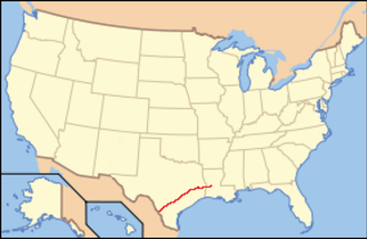 El Camino Real de los Tejas National Historic Trail - Location of trail