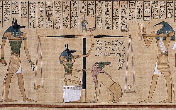 This detail scene, from the Papyrus of Hunefer (c. 1275 BCE), shows the scribe Hunefer's heart being weighed on the scale of Maat against the feather of truth, by the jackal-headed Anubis. The ibis-headed Thoth, scribe of the gods, records the result. If his heart equals exactly the weight of the feather, Hunefer is allowed to pass into the afterlife. If not, he is eaten by the waiting chimeric devouring creature Ammit composed of the deadly crocodile, lion, and hippopotamus. Vignettes such as these were a common illustration in Egyptian books of the dead. El pesado del corazon en el Papiro de Hunefer.jpg