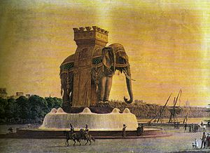 Elephant of the Bastille - View of the Elephant of the Bastille as it would have appeared in situ
