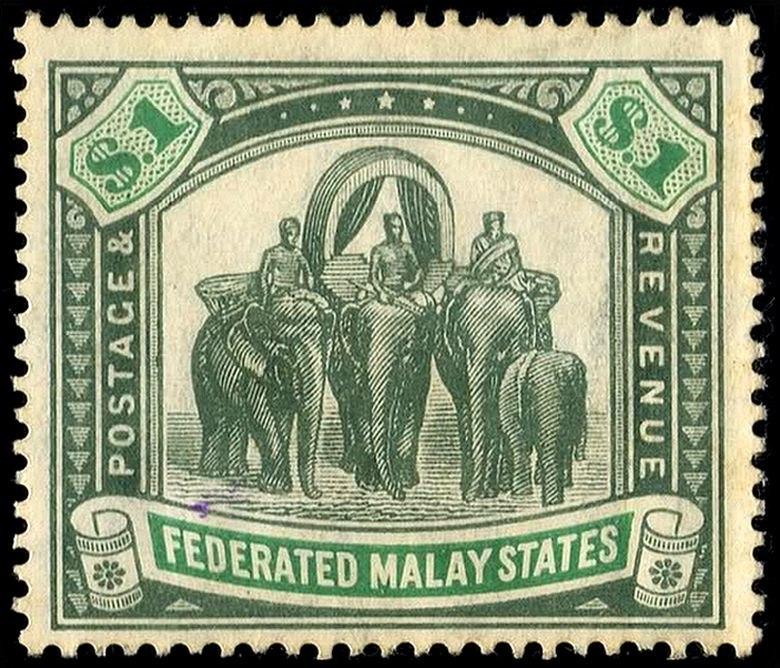 Elephants Malaya $1 1906 issue