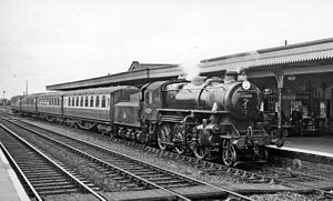 Ely railway station - The Hunstanton portion of the 10.39 service from Liverpool Street at Ely in 1958