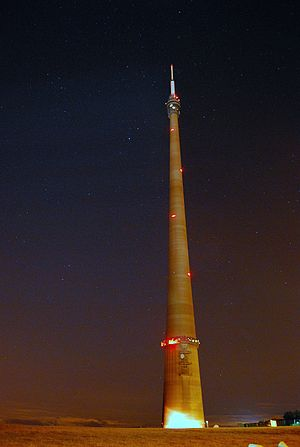 Emley Moor transmitting station - The tower at night