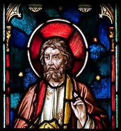 Enniscorthy St. Aidan's Cathedral East Aisle First Window Apostle Matthias Detail 2009 09 28.jpg
