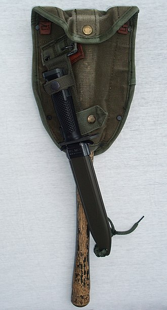 Entrenching tool - M-1956 Entrenching Tool Carrier with M6 Bayonet-Knife / M8A1 Scabbard attached