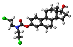 Ball-and-stick model of the estramustine molecule