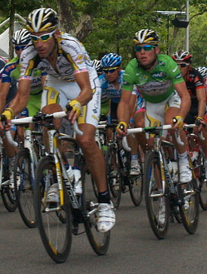 HTC–Highroad - George Hincapie and Mark Cavendish in the green jersey during Stage 3 of the 2009 Tour de France