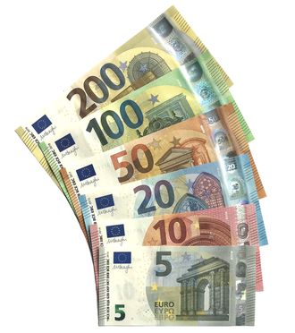 Euro banknotes from the Europa series (since 2013) Euro banknotes, Europa series.png