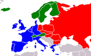 European trade blocs as of the late 1980s. EEC member states are marked in blue, EFTA – green, and Comecon – red.