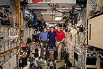 Expedition 58 crew gathers inside the Zvezda service module.jpg