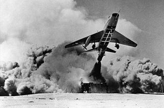 Zero-length launch - A USAF F-100D Super Sabre using a zero-length-launch system