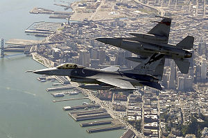 F-16Cs California ANG over SanFran 2004