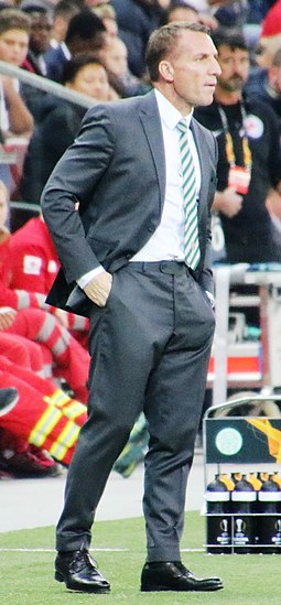 Brendan Rodgers led Celtic to a unique unbeaten domestic treble in the 2016-17 season FC Salzburg versus Celtic FC (4. Oktober 2918 Gruppe B, Zweiter Spieltag) 13.jpg