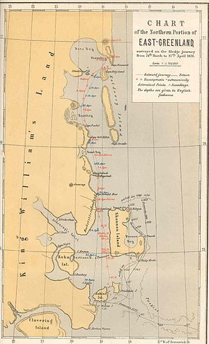 Shannon Island - 1870 map of the Northern Portion of Eastern Greenland showing coastal islands
