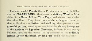 Clarendon (typeface) - Clarendon in a Fann Street Foundry specimen book of c. 1874, showing its use for emphasis within body text.