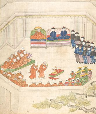 Tibet under Qing rule - Induction of Lungtok Gyatso, 9th Dalai Lama, in the presence of Ambans around 1808.
