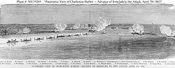 Panoramiczny widok statków w porcie podczas bitwy