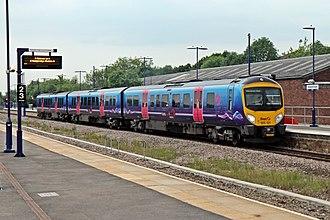 Stalybridge railway station - A First TransPennine Express Class 185 arrives at platform 4.