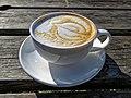 Flat white coffee at Highgate Cricket Club, Haringey, angle view 2.jpg