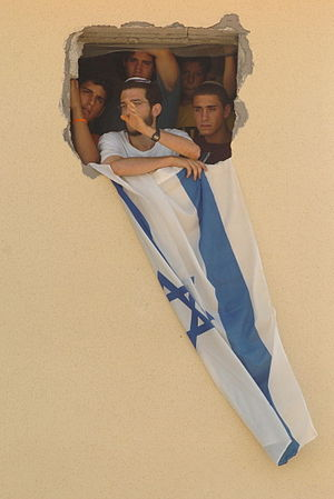 Israeli disengagement from Gaza - A group of residents refuses to evacuate the Israeli settlement Bedolach. August 17, 2005