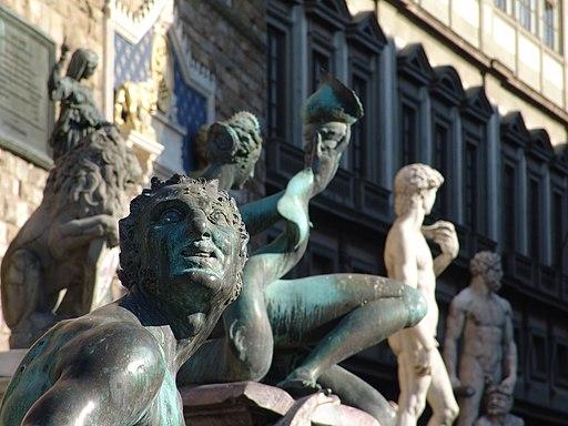 Fontana del Nettuno, (fontana del biancone), dettaglio satiro del Giambologna, Piazza della Signoria, Firenze