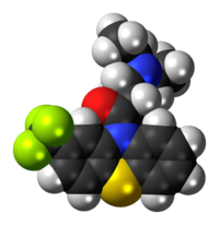 Space-filling model of the fluacizine molecule