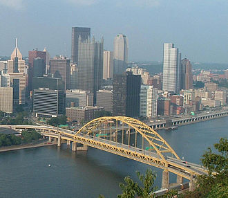 Tied-arch bridge - The Fort Pitt Bridge is a tied-arch bridge. The arches terminate atop slender raised piers and are tied by the road deck structure.