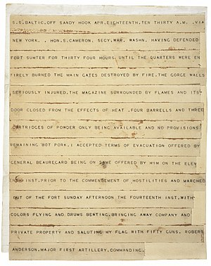 Robert Anderson (Civil War) - Robert Anderson's telegram announcing the surrender of Fort Sumter
