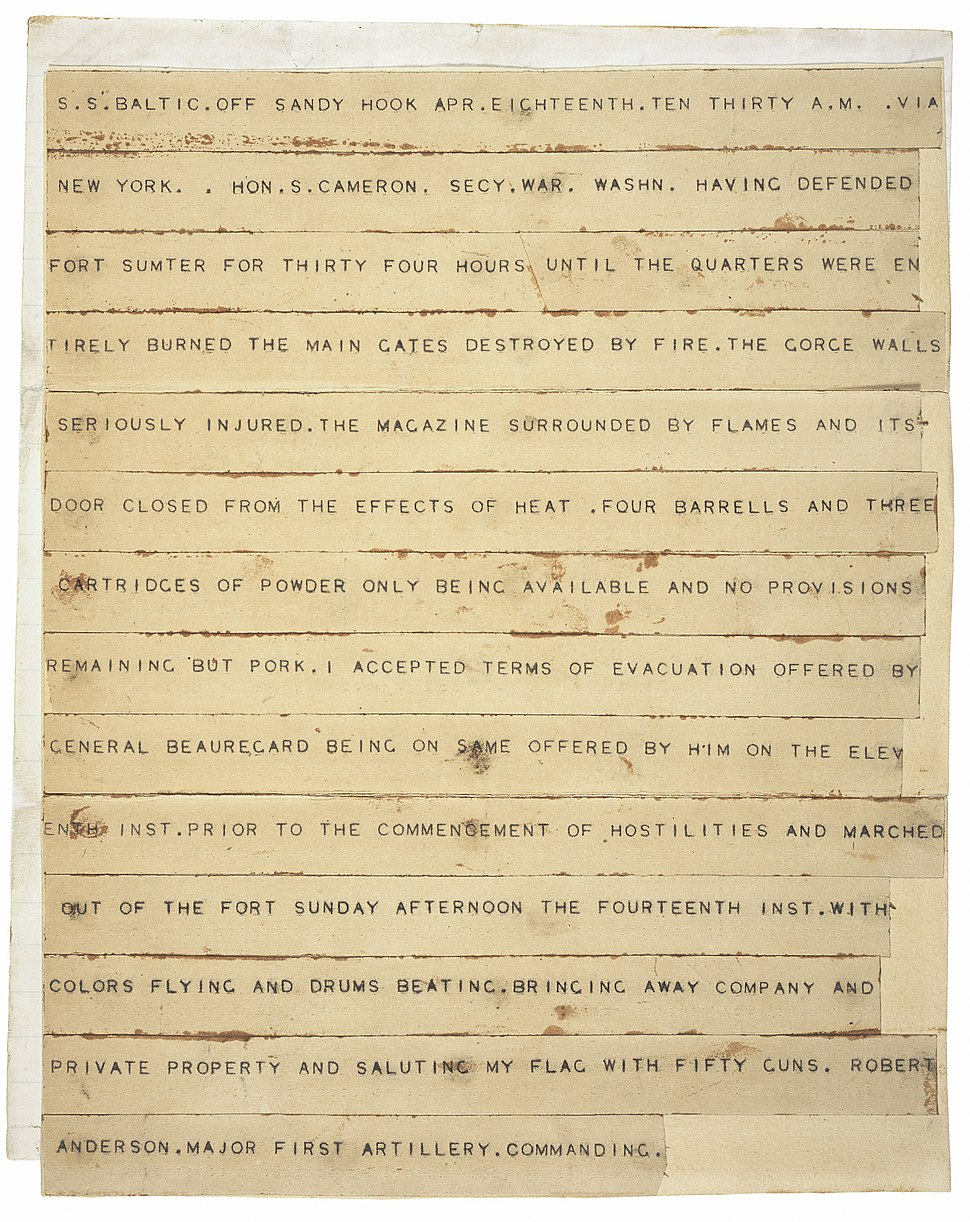 Fort Sumter telegram