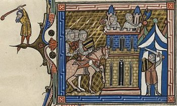 Medieval depiction of the siege of Damascus from the 13th or 14th century