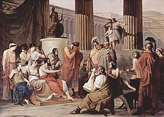 Myth - Odysseus Overcome by Demodocus' Song, by Francesco Hayez, 1813–15