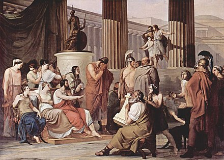 Odysseus at the Court of Alcinous by Francesco Hayez. The blind minstrel Demodocus is playing the harp. Francesco Hayez 028.jpg