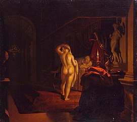 Gyges Spying on Queen Nyssia in the bedroom of King Candaules